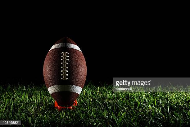 american football on a tee - kick off stock pictures, royalty-free photos & images