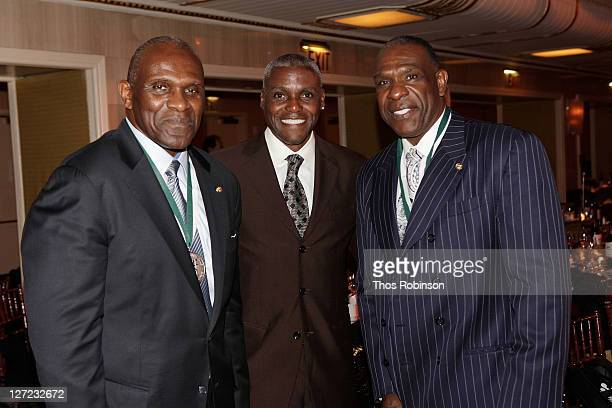 American Football Player Harry Carson, American Track Athlete Carl Lewis and Baseball player Andre Dawson attend the 26th Annual Great Sports Legends...