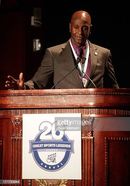 American football player Jerry Rice attends the 26th Annual Great Sports Legends Dinner to benefit the Buoniconti Fund To Cure Paralysis at The...