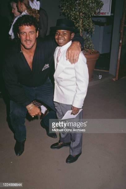 American football player Lyle Alzado with American actor Gary Coleman attend the grand opening of Alzado's his restaurant in West Hollywood...
