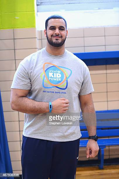 American football player Oday Aboushi attends the UNICEF Kid Power Kick Off on March 25 2015 in New York City