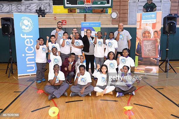 American football player Oday Aboushi President and CEO US Fund for UNICEF Caryl Stern attend the UNICEF Kid Power Kicks Off In New York With Former...