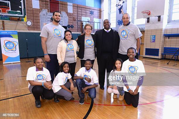 American football player Oday Aboushi President and CEO US Fund for UNICEF Caryl Stern Deputy Mayor Richard Buery attend the UNICEF Kid Power Kicks...