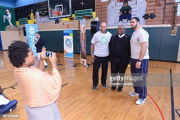 American football player Oday Aboushi President and Deputy Mayor Richard Buery attend the UNICEF Kid Power Kicks Off In New York With Former New York...