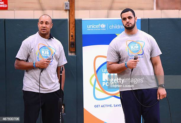 American football player Oday Aboushi speak at the UNICEF Kid Power Kicks Off In New York With Former New York Knicks Star John Starks on March 25...