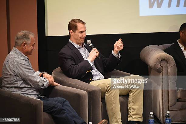 American Football player Patrick Kerney speaks on stage at Greenwich Film Festival 2015 Sports Guys On Sports Movies Premiere After Party at Cole...