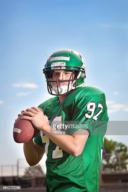 American Football Player Quarterback Throwing a Pass Close-up