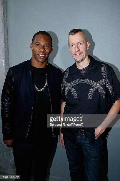American Football Player Victor Cruz and Stylist Lucas Ossendrijver attend the Lanvin Menswear Spring/Summer 2017 show as part of Paris Fashion Week...