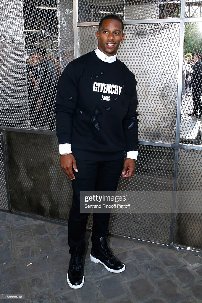 American Football Player Victor Cruz attends the Givenchy Menswear Spring/Summer 2016 show as part of Paris Fashion Week on June 26, 2015 in Paris, France.