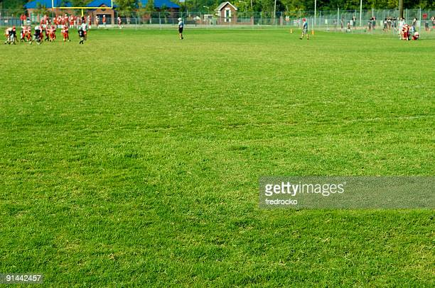 american football players at football game on football field - football league stock pictures, royalty-free photos & images