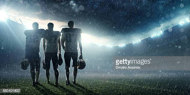 American football players at the end of the game