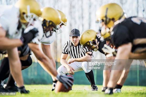 american football players positioning. - american football referee stock pictures, royalty-free photos & images