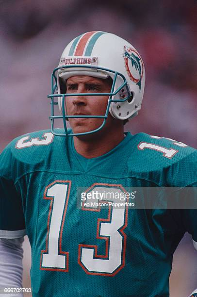 American football quarterback Dan Marino pictured in action playing for the Miami Dolphins against the San Francisco 49ers during the American Bowl...