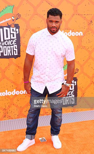 American Football Quarterback Russell Wilson attends the Nickelodeon Kids' Choice Sports Awards at UCLA's Pauley Pavilion on July 14 2016 in Westwood...
