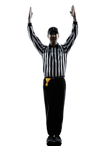 american football referee touchdown gestures silhouettes 487606295
