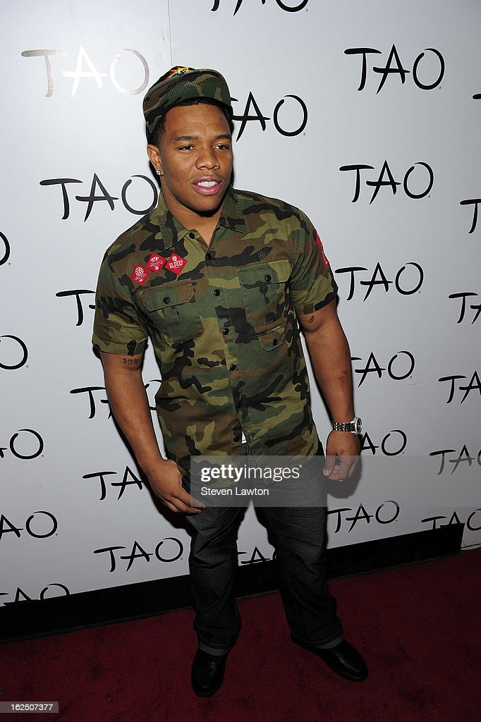 American football running back Ray Rice of the Baltimore Ravens arrives for a championship celebration at the Tao Nightclub at The Venetian Resort Hotel Casino on February 23, 2013 in Las Vegas, Nevada.