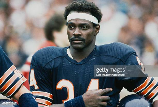 American football running back Walter Payton pictured prior to playing for the Chicago Bears against the Dallas Cowboys during the American Bowl...