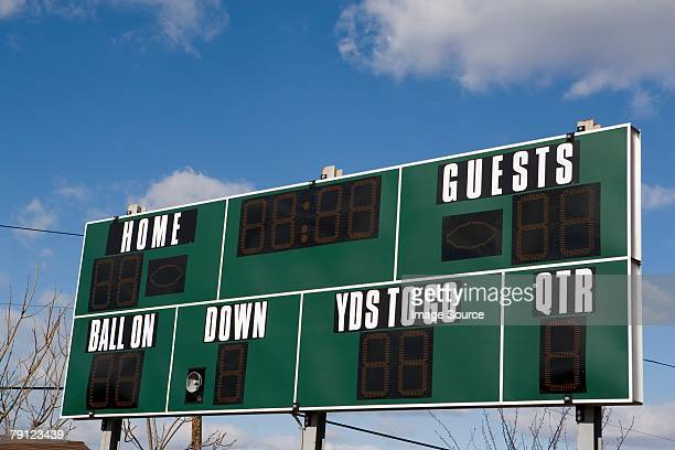 american football scoreboard - football scoreboard stock pictures, royalty-free photos & images