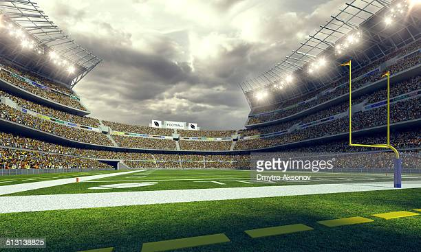 american football stadium 3d render - football field stock pictures, royalty-free photos & images