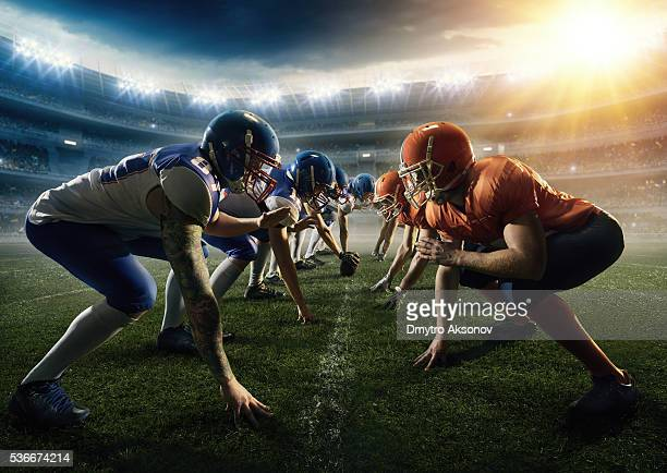 american football teams head to head - face off sports play stock photos and pictures