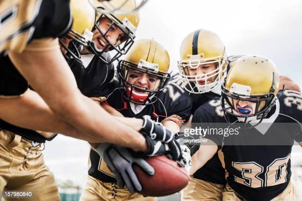 american football teamwork. - touchdown stockfoto's en -beelden