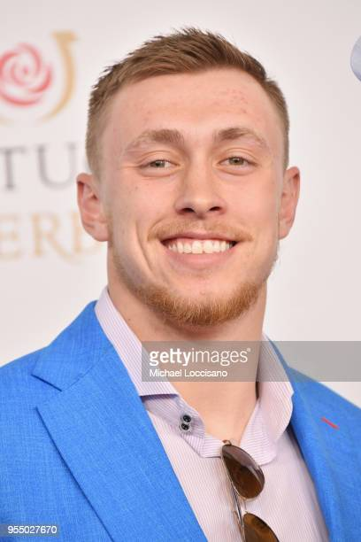 American football tight end for the San Francisco 49ers George Kittle attends Kentucky Derby 144 on May 5 2018 in Louisville Kentucky