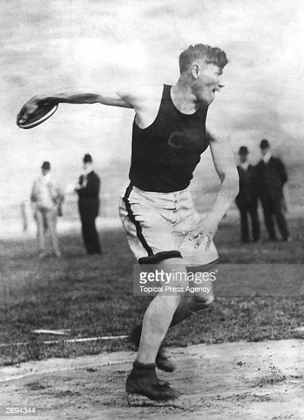 American footballer and athlete Jim Thorpe competing for Carlisle Indian Industrial School at the US Olympic trials in Celtic Park New York 18th May...