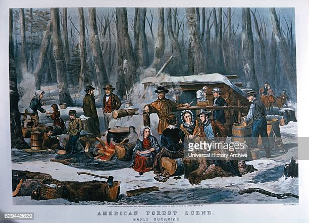 American forest Scene Maple Sugaring Currier Ives Lithograph 1856