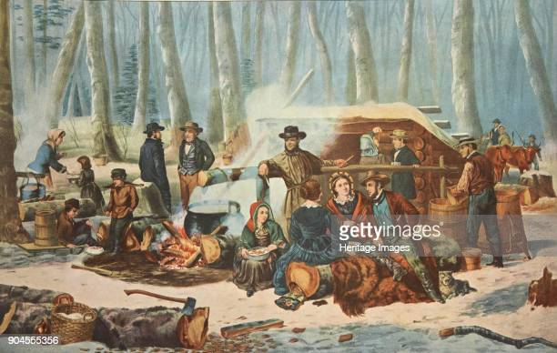 American Forest Scene Maple Sugaring pub 1856 Currier Ives