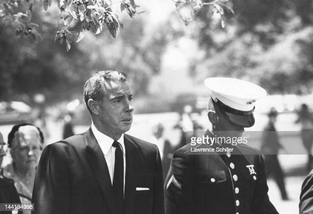 American former baseball player Joe DiMaggio and his son Joseph DiMaggio III left Westwood Village Memorial Park Cemetery following the funeral of...