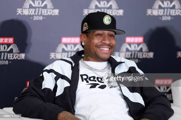 American former basketball player Allen Iverson receives interview during rehearsal for 2018 Double 11 Global Shopping Festival on November 10 2018...