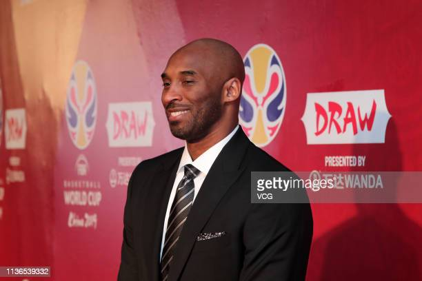 American former basketball player Kobe Bryant arrives at the red carpet of FIBA Basketball World Cup 2019 Draw Ceremony at Shenzhen Bay Arena on...