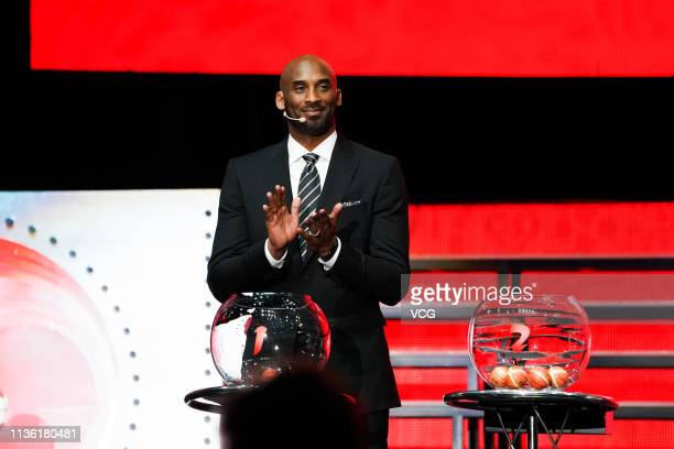 American former basketball player Kobe Bryant attends FIBA Basketball World Cup 2019 Draw Ceremony at Shenzhen Bay Arena on March 16 2019 in Shenzhen...