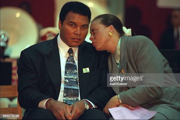 American former boxer Muhammad Ali with his wife Yolanda Ali presents the oral history Healing A Journal of Tolerance and Understanding a jiont...