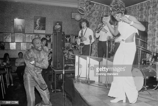 American former boxer singer and disco jockey Freddie Mack performing with his band 22nd July 1969