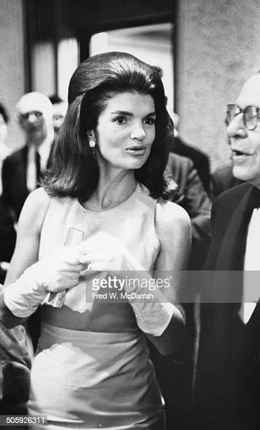 American former First Lady Jacqueline Bouvier Kennedy attends an opening at the Whitney Museum of American Art New York New York September 27 1966