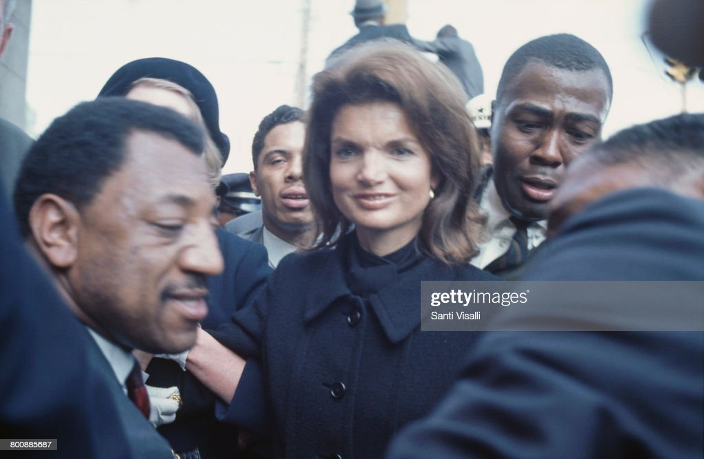 American former First Lady, Jacqueline Kennedy (1929 - 1994) attends the funeral of assassinated civil rights activist, Martin Luther King Jr. in Atlanta, Georgia, 9th April 1968.