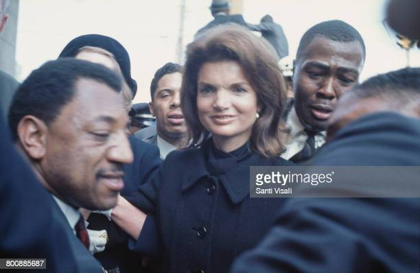American former First Lady Jacqueline Kennedy attends the funeral of assassinated civil rights activist Martin Luther King Jr in Atlanta Georgia 9th...