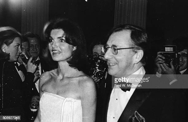 American former First Lady Jacqueline Kennedy Onassis and Carl Katz attend an event at the Metropolitan Museum of Art New York New York December 3...