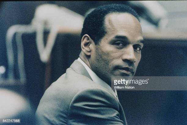American former football player and actor OJ Simpson during his trial for the murder of his wife Nicole Brown and her friend Ronald Goldman on June...