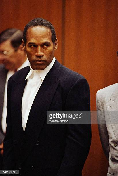 American former football player and actor O.J. Simpson during his trial for the murder of his wife Nicole Brown and her friend Ronald Goldman on June...