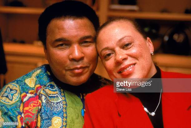 American former heavyweight boxing champion Muhammad Ali poses with his wife Lonnie Williams Berrien Springs Michigan July 1999