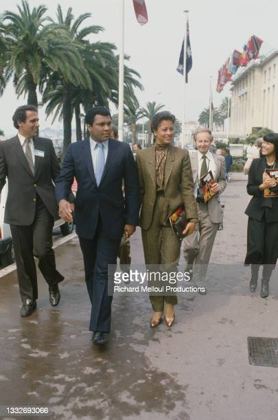 American former professional boxer and social activist Muhammad Ali, born Cassius Clay Jr., with his wife Veronica Porsche Ali during a visit in...