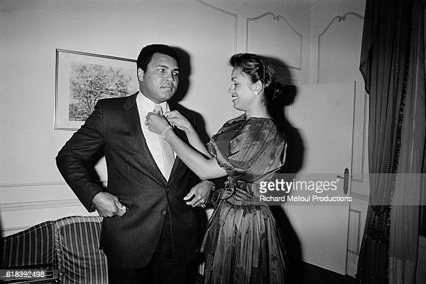 American former professional boxer and social activist Muhammad Ali born Cassius Clay Jr and his wife actress Veronica Porsche during a visit in...