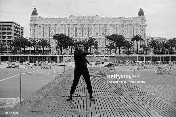 American former professional boxer and social activist Muhammad Ali born Cassius Clay Jr during a visit in Cannes
