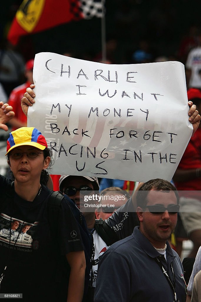 American Formula One fans boo and protest after all the teams with Michelin tyres retired after the warm up lap during the United States F1 Grand Prix at the Indianapolis Motor Speedway on June 19, 2005 in Indianapolis, Indiana.