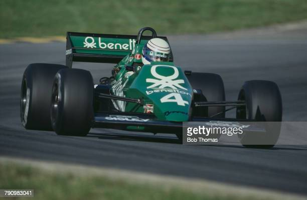 American Formula One racing driver Danny Sullivan drives the Benetton Tyrrell Team Tyrrell 012 Cosworth V8 in the 1983 European Grand Prix at Brands...