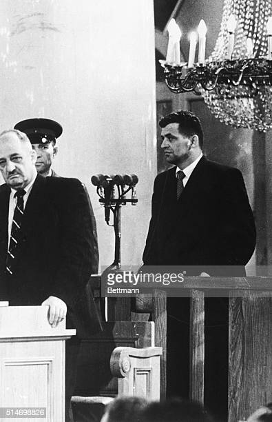 American Francis Gary Powers stands in a courtroom where he is sentenced to 10 years imprisonment on charges of espionage after his plane was shot...