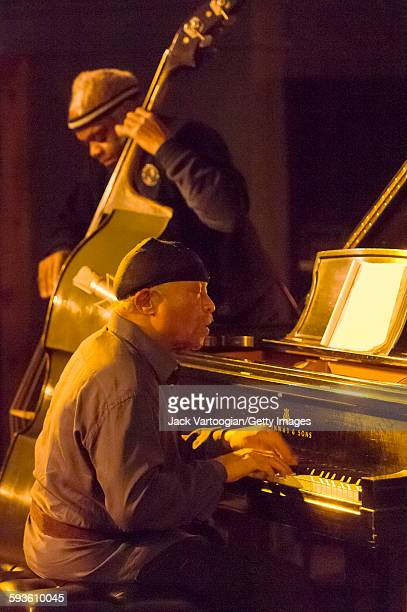 American Free Jazz musician poet and composer Cecil Taylor plays piano as he leads his trio at the Iridium Jazz Club New York New York October 27...