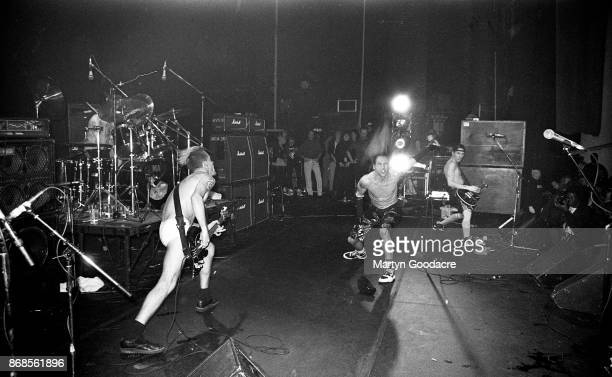 American funk rock group Red Hot Chili Peppers perform on stage at the Astoria London 1989 LR Flea Anthony Kiedis John Frusciante
